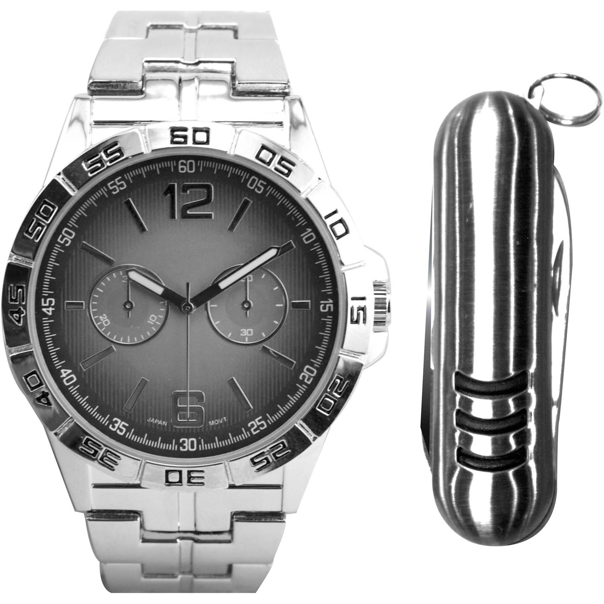 Men's Silver-Tone Grey Dial Watch with Gift Set and Multi-tool Accessory