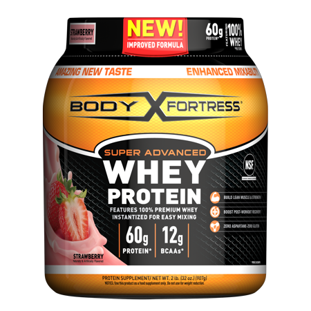 Body Fortress Super Advanced Whey Protein Powder, Strawberry, 60g Protein, 2lb,