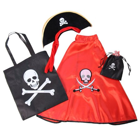 Blow Up Halloween Pirate Ship (Kids Red Pirate Skull Dress Up Costume Accessory Set, Includes red pirate cape, pirate hat, pirate treat tote bag and pirate unfilled favor bag By Making Believe Ship from)