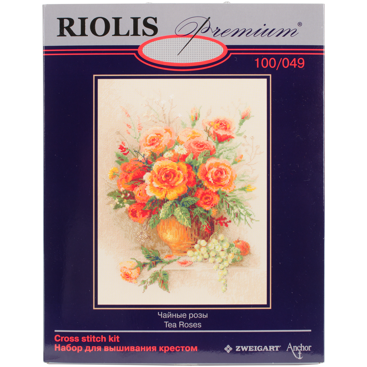 """Tea Roses Counted Cross Stitch-11.75""""X15.75"""" 14 Count - image 1 de 1"""