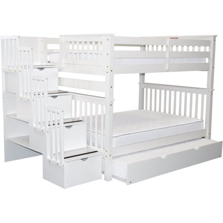 Bedz King Bunk Beds Full Over Full Drawers Steps Twin Trundle White