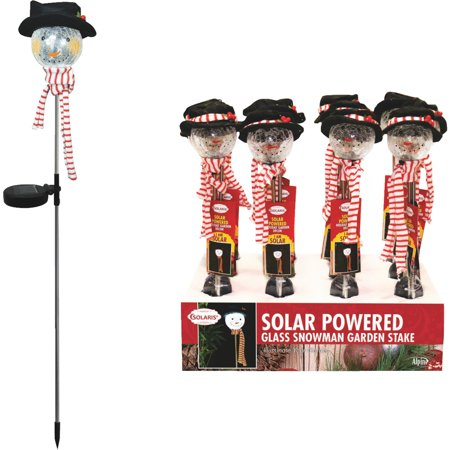 Alpine Corp Solar Snowman Stake SLL888BB-12 Pack of 12