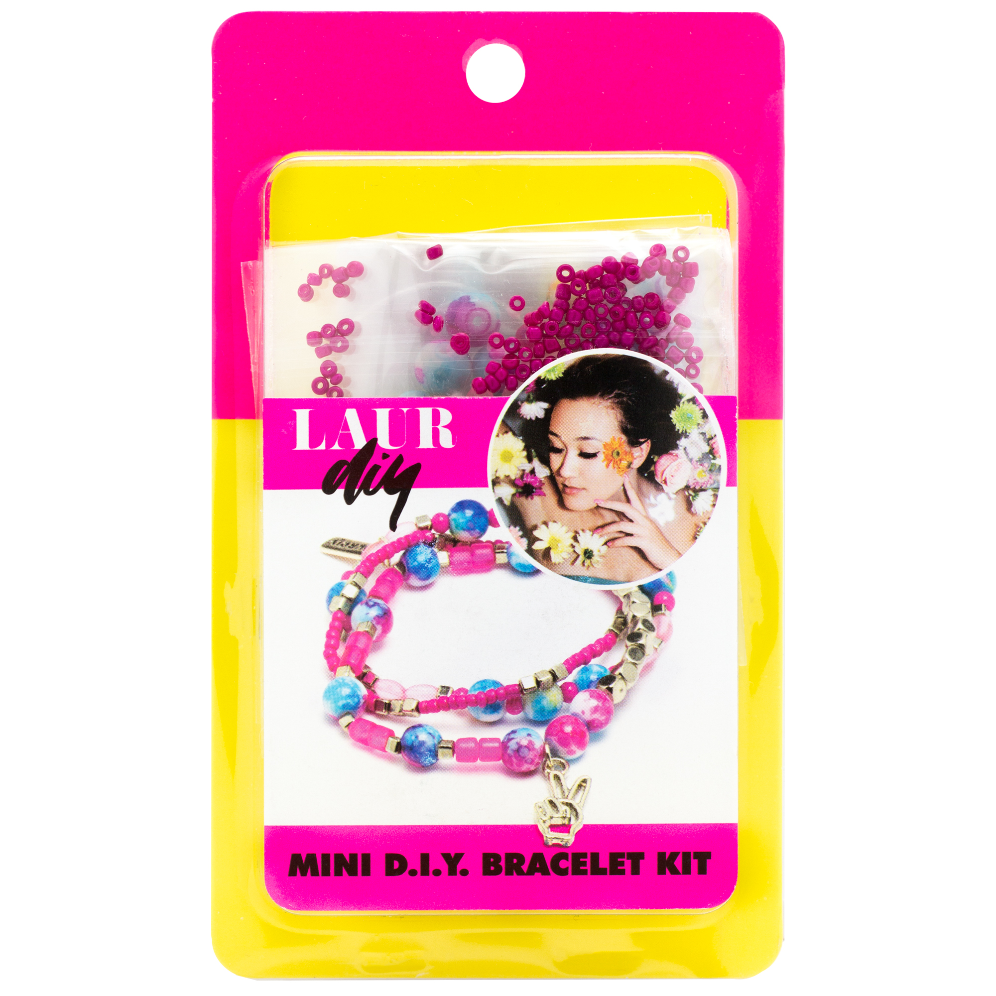 LaurDIY Pink Blue Peace Stretch Bracelet Mini DIY Kit