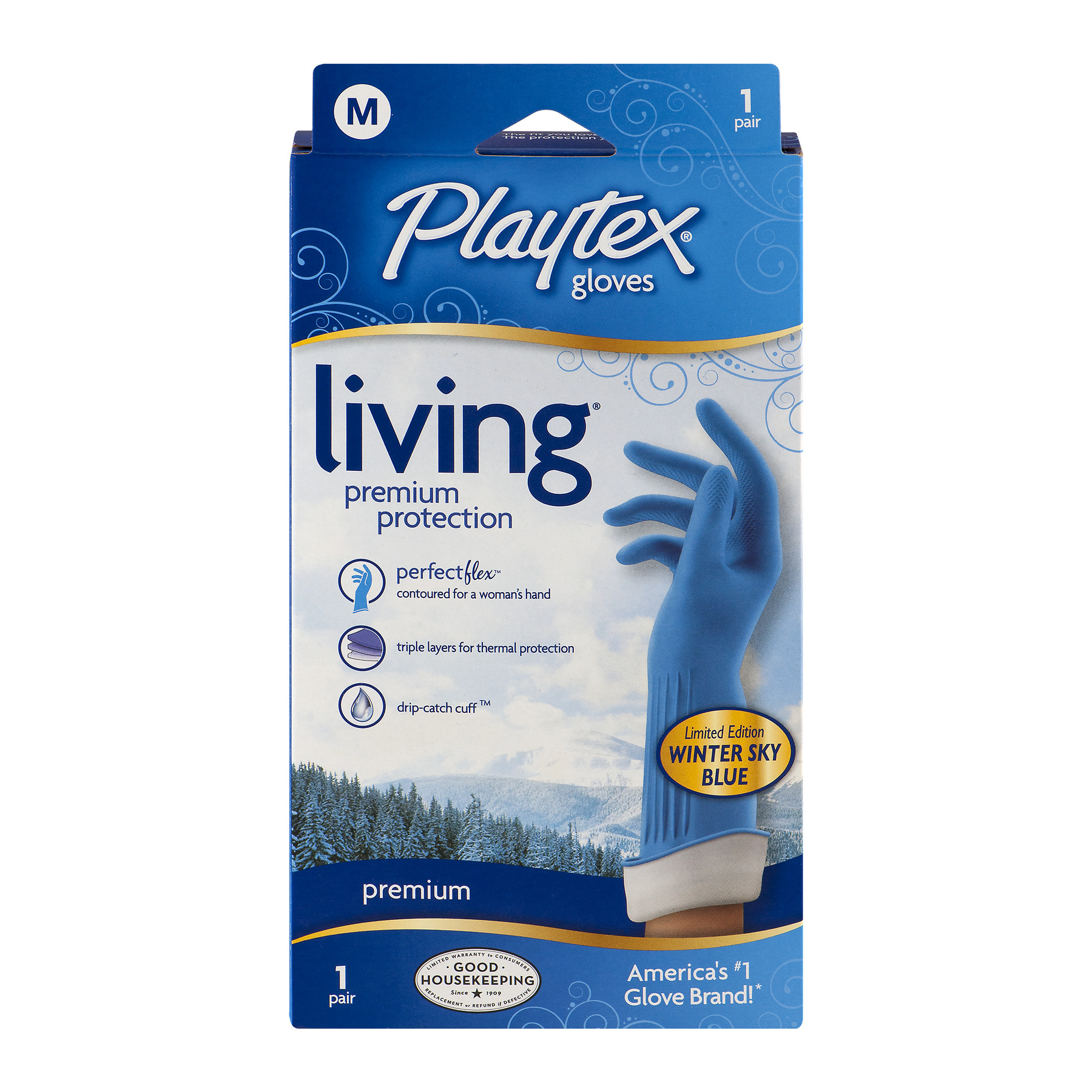 Playtex Living Reusable Gloves With Drip-Catch Cuff Medium - 1 Pair