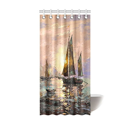 GCKG Decorative Sailing Boats Painting Art Shower Curtain Hooks 36x72 Inches Colorful Fabric Oil Under The Summer SunGlow Sea