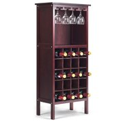Wood Wine Rack Storage Cabinet 20 Bottles Display Home Bar w/ Glass Holder Burgundy