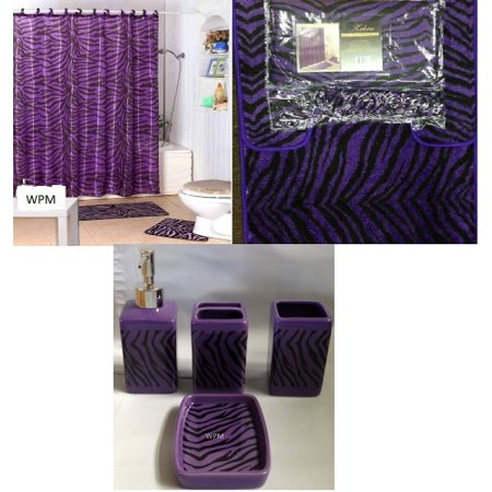 Zebra Bath Rugs - Complete Bath Accessory Set- Black Purple Zebra Animal Print Bath Rug Set + Black Zebra Shower Curtain & Ceramic Accessories-new Design