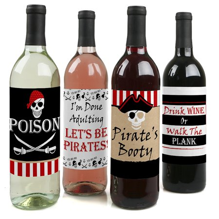 Beware of Pirates - Pirate Birthday Party Decorations for Women and Men - Wine Bottle Label Stickers - Set of 4 (Pirate Decoration Ideas)