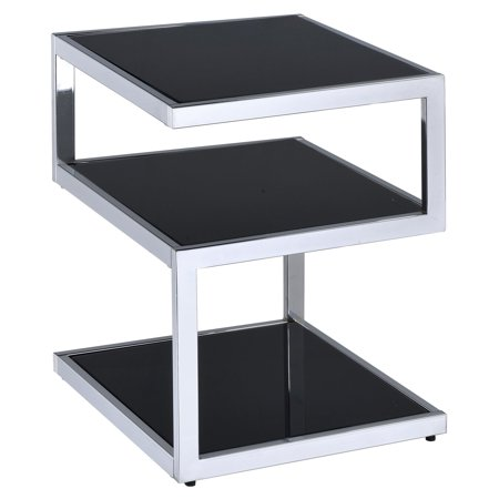 ACME Alyea Contemporary Frosted Glass End Table, Black ()