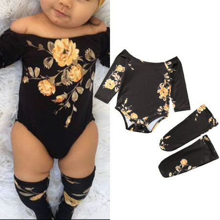3PCS Newborn Toddler Baby Girl Off Shoulder Flower Romper Tops+Leg Warmers Outfits Clothes