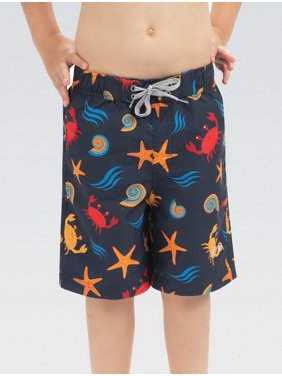 (Price/each)Dolfin 9C01BTSEA Little Dolfin By the Sea Printed Swim Trunks-Navy-4T