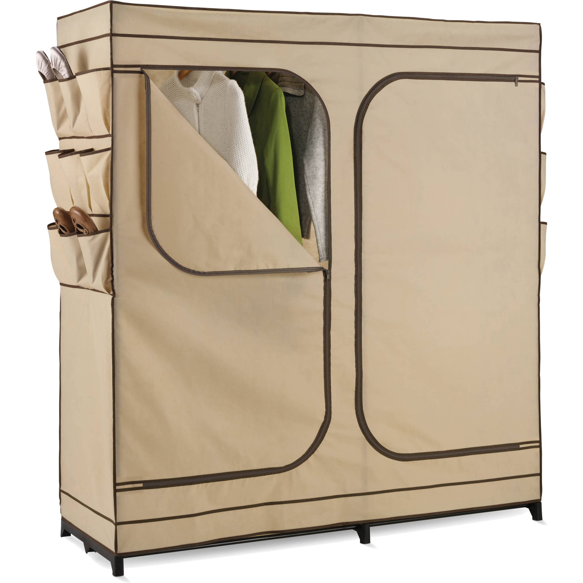 "Honey Can Do 60"" 2-Door Closet Storage with Shoe Organizer, Khaki/Brown"