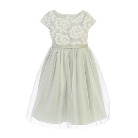 Children's Boutique Dresses (Sweet Kids Girls Sage Floral Sponge Mesh Tulle Flower Girl)