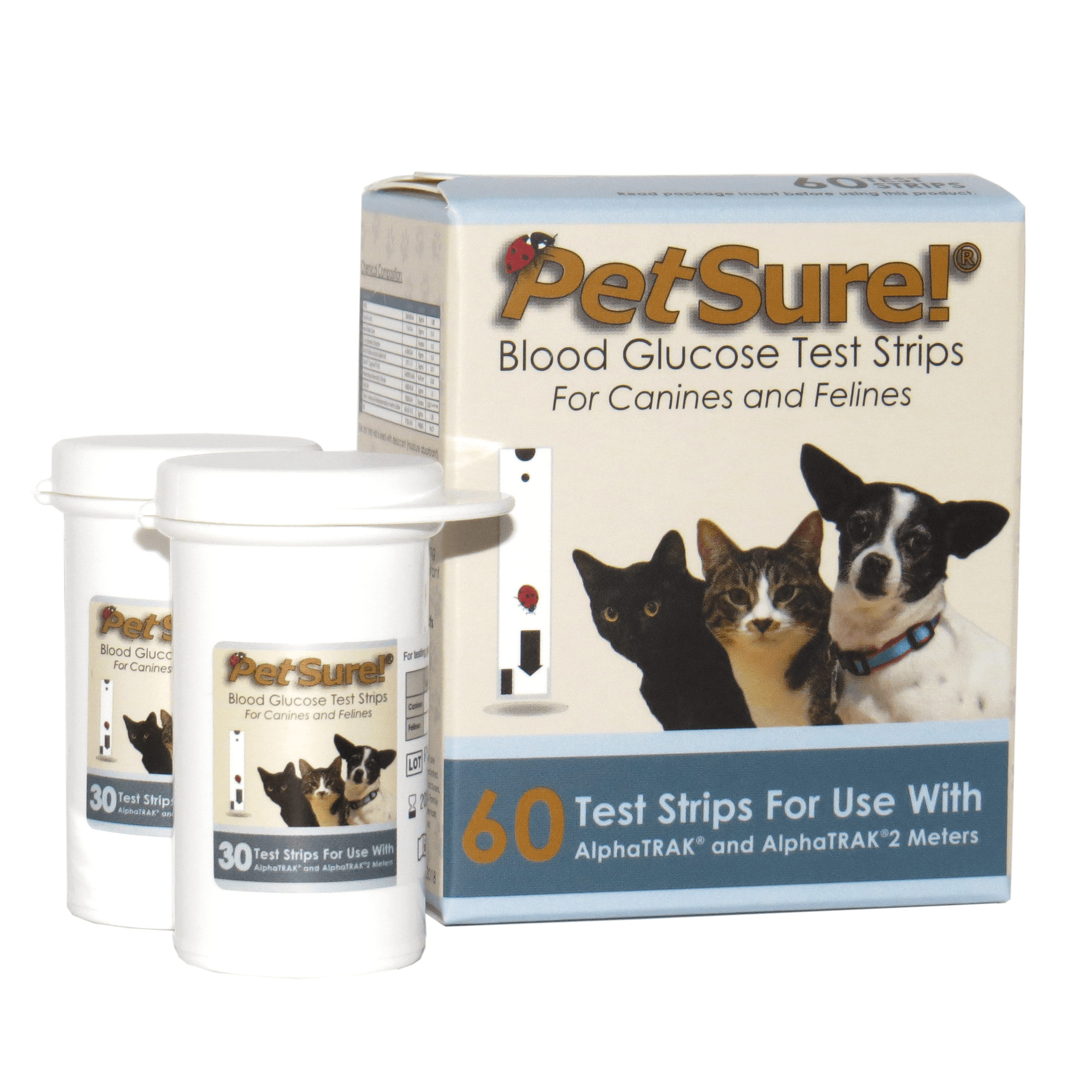 PetSure! 60ct Test Strips - Blood Glucose Testing for Dogs & Cats - works with AlphaTRAK and AlphaTRAK2 Meters