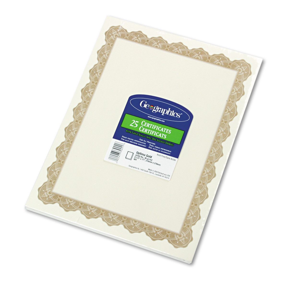 Geographics Parchment Paper Certificates, 8-1/2 x 11, Optima Gold Border, 25/Pack -GEO39451