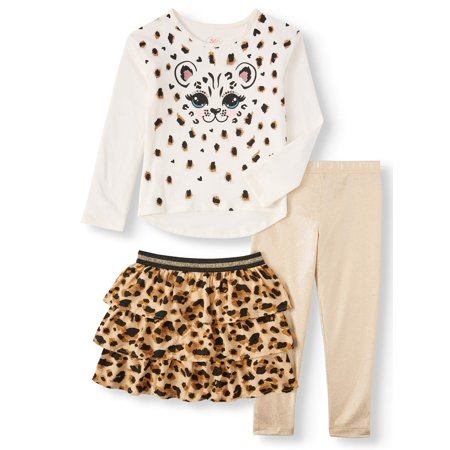 65 Kids From Garanimals Girls' Long Sleeve Graphic T Shirt, Skort & Leggings, 3-Piece Outfit Set