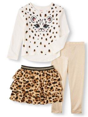365 Kids From Garanimals Girls' Long Sleeve Graphic T Shirt, Skort & Leggings, 3-Piece Outfit Set (Little Girls and Big Girls)