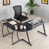 Yaheetech L-Shaped Corner Computer Desk Writing Table for Office Home, Wood Large 3-Piece PC Laptop Table Workstation, Black