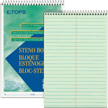 TOPS, TOP8021, Green Tint Steno Books, 1