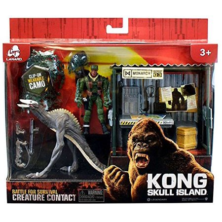 Kong Skull Island Battle For Survival Creature Contact Skullcrawler With Monarch Outpost And Figure  Includes Sky Devil Dino  Outpost And Hero    By Lanard Ship From Us