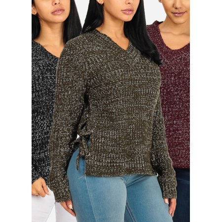DEAL OF THE YEAR! BEST VALUE! Womens Juniors Knitted Lace Up Side Sweaters (3 PACK)