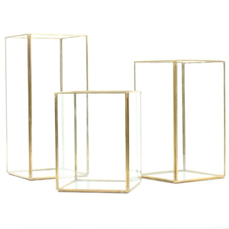 Wedding Lantern Centerpieces (Koyal Wholesale Gold Geometric Hurricane Candle Holder Set of 3 for Wedding Centerpiece, Home Decor, Patio)