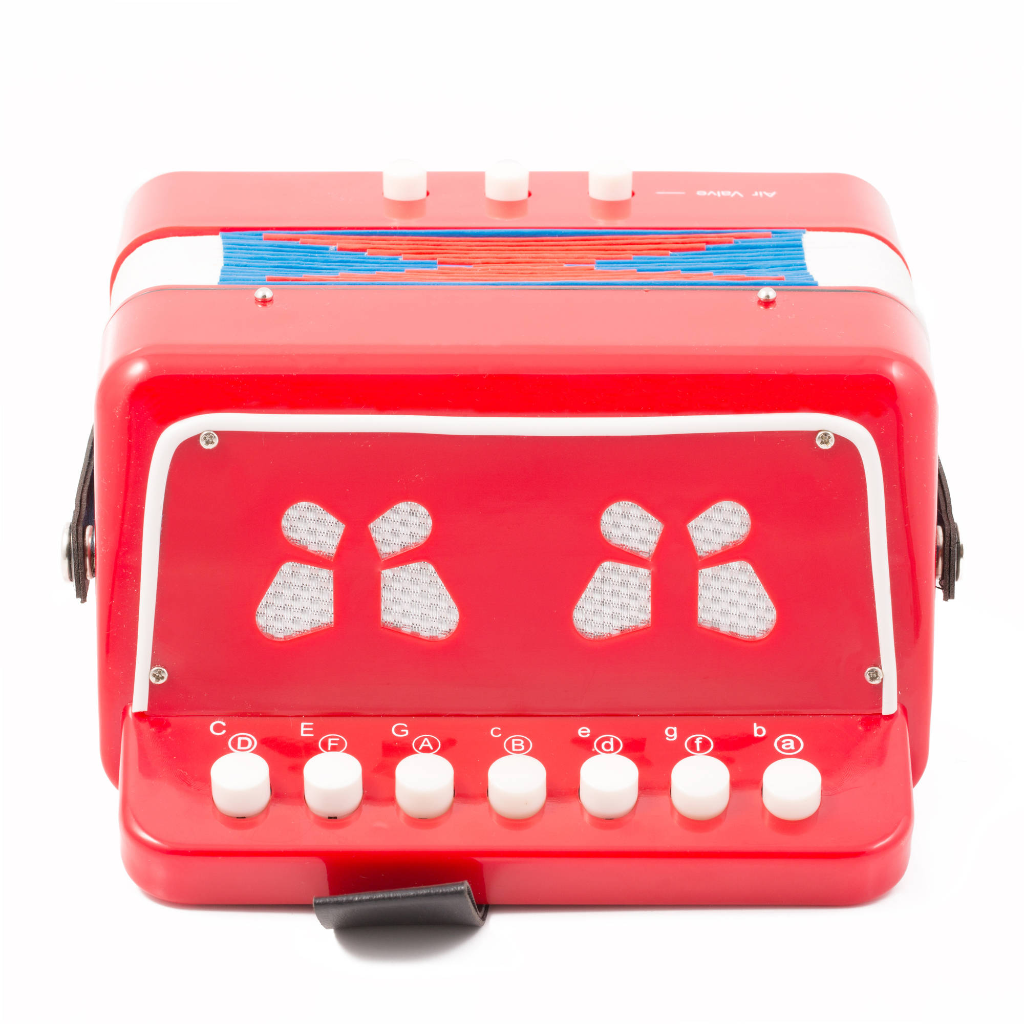 Kayata 7 Keys 2 Bass Botton Accordion for Kids Children Educational Music Instrument Toy, Red