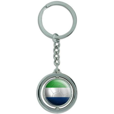 Sierra Leone Flag Soccer Ball Futbol Football Spinning Round Metal Key Chain Keychain Ring