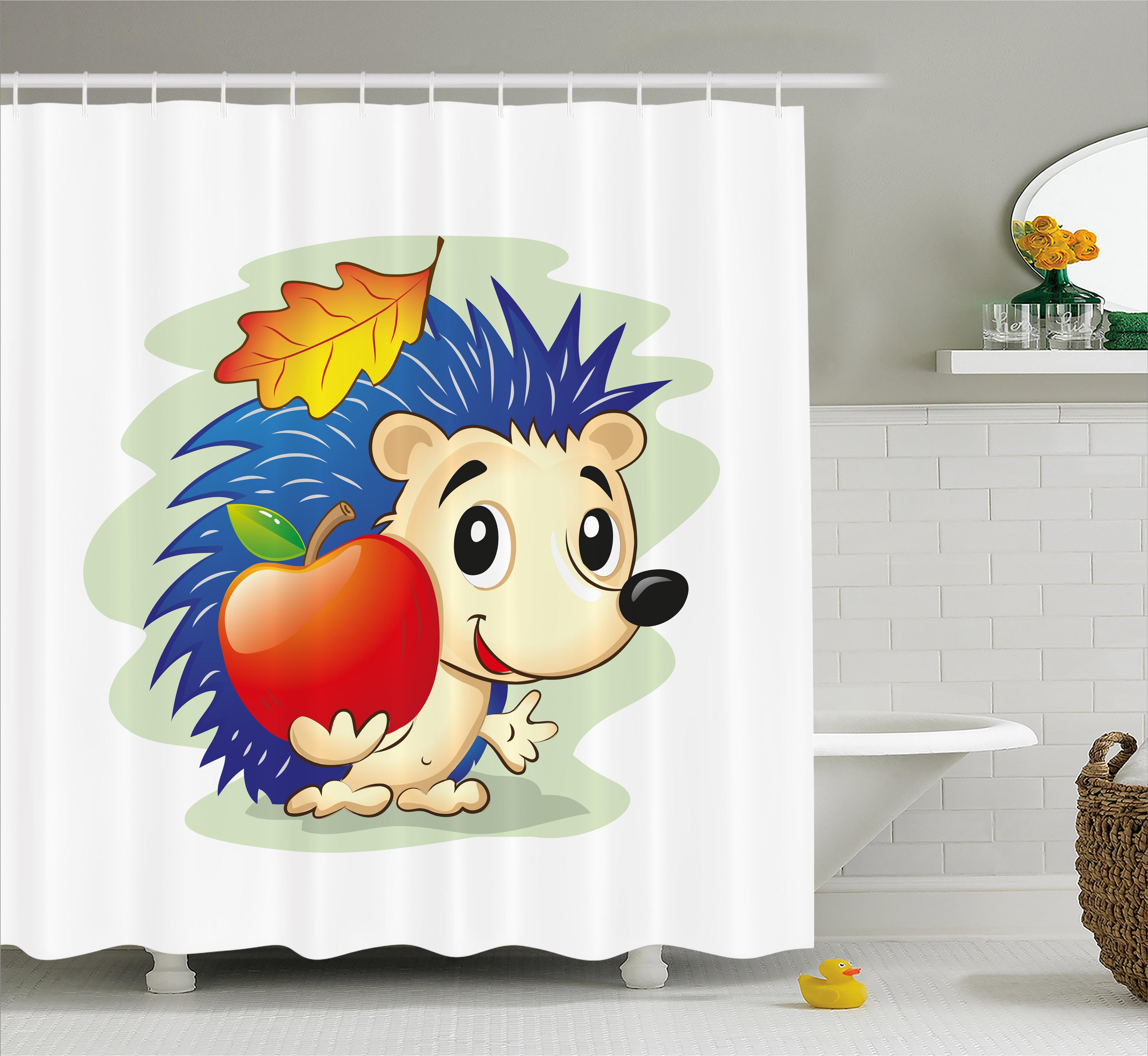 Hedgehog Shower Curtain, Colorful Digital Art Cartoon Ani...
