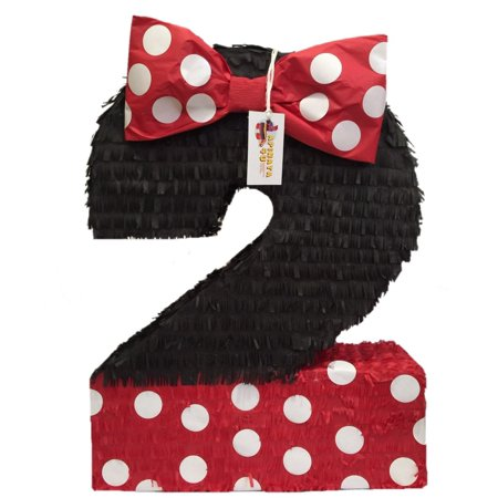 Large Number Two Pinata Black Color with Red Bow - Extra Large Pinata