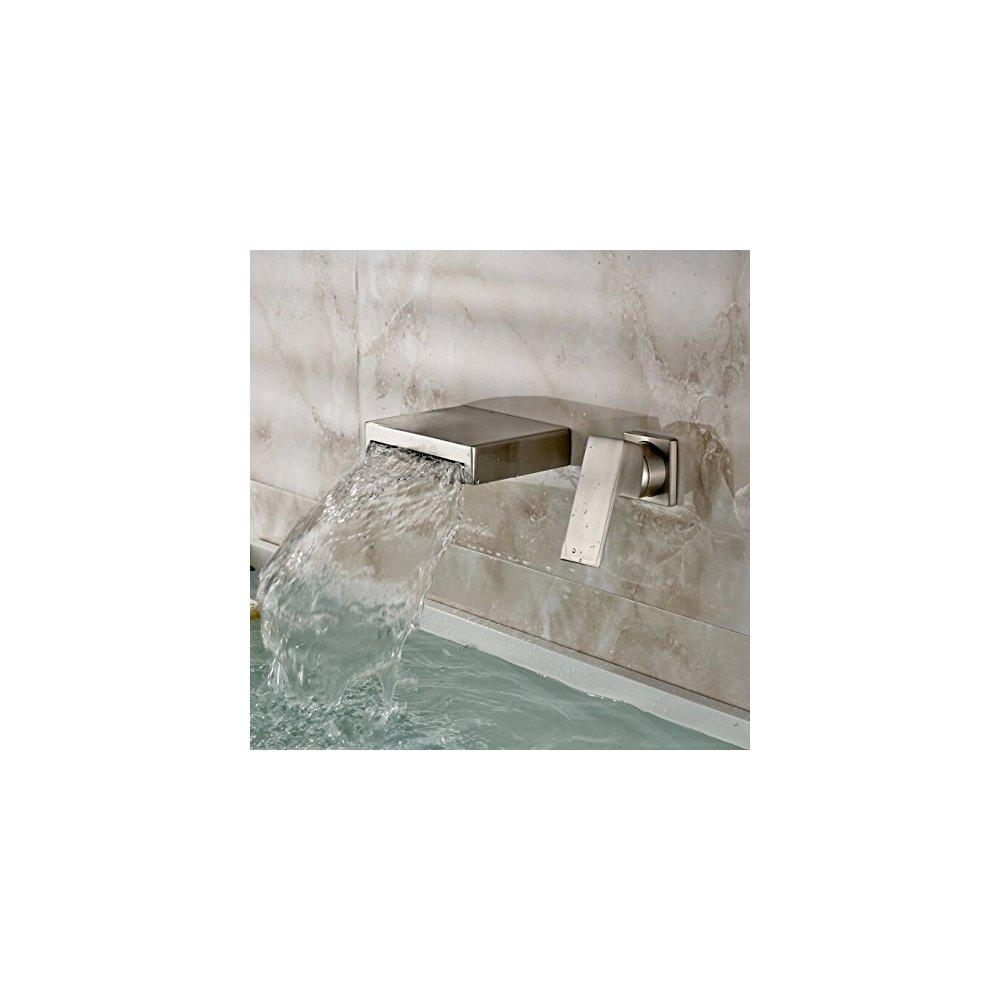 oulantron brushed nickel waterfall bath sink faucet wall mount ...