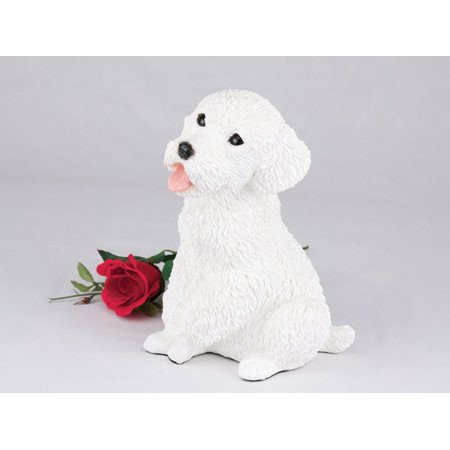 Miniature Poodle White Cremation Pet Urn for a Dog Memorial in remembrance of your beloved family pet. Beloved Pet Memorial Stone