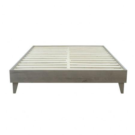 Regency Rustic Barnwood Platform Bed - Reclaimed Ash Hardwood w/ Cast Aluminum Brackets - No Box Spring Required