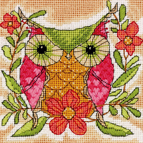 "Whimsical Owl Needlepoint Kit, 5"" x 5"" Stitched In Thread"