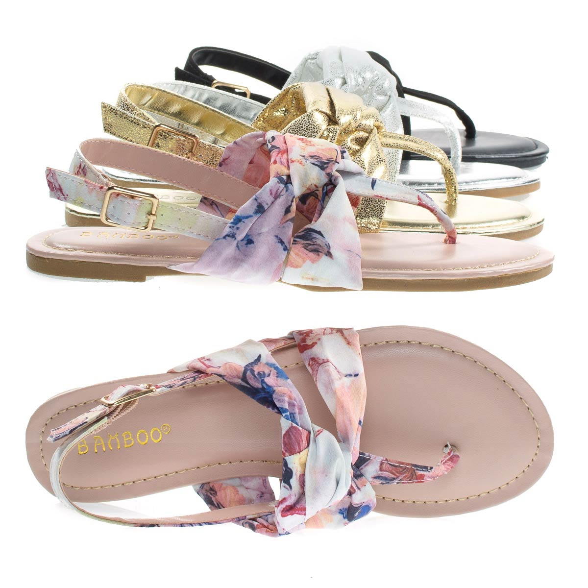 Yolo24s by Bamboo, Women Flat Thong Sandal W Metallic & Print Fabric In Sling back Strap