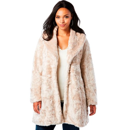 Roaman's Plus Size Shawl Collar Faux-fur