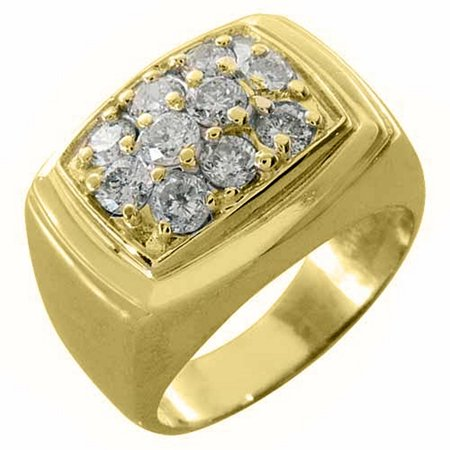 Gold Brilliant Cut Diamond - 14k Yellow Gold Mens Brilliant round cut Diamond Cluster Ring 1.50 Carats