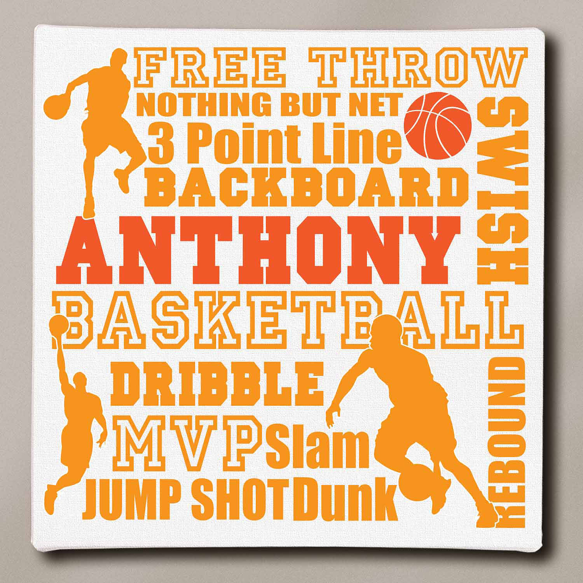 "Personalized Basketball Typography Canvas, 16"" x 16"""