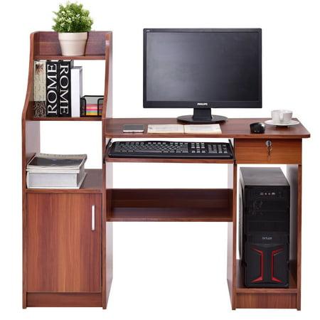 Gymax Computer Study Desk Laptop Table Writing Workstation W Bookshelf
