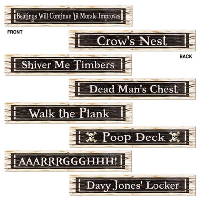 Beistle 54507 Pirate Street Sign Cutouts Pack of 12
