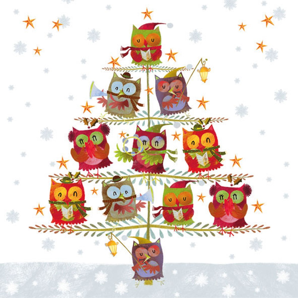 Ambiente Christmas Tree With Owls Cocktail Napkin, 20 Ct by Ampelco