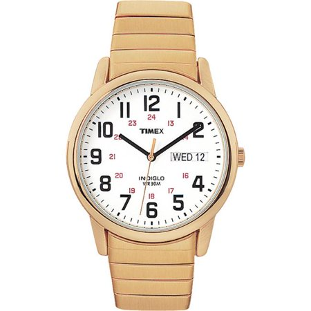 Long Witch - T2N0929J Mens Easy Reader Gold Tone Extra Long Stainless Steel Expansion Band Watch