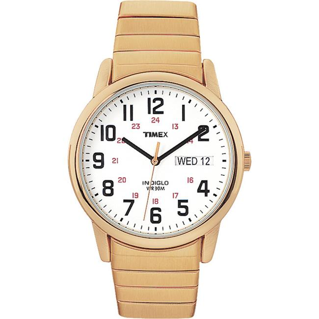 T2N0929J Mens Easy Reader Gold Tone Extra Long Stainless Steel Expansion Band Watch