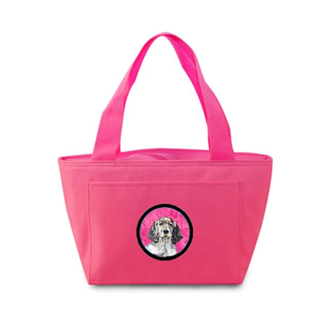 Pink English Setter Zippered Insulated School Washable And Stylish Lunch Bag Cooler