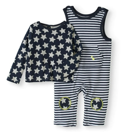 Newborn Baby Boys' Star Print Knit Overalls 2-Piece Set - Chucky Overalls For Toddlers