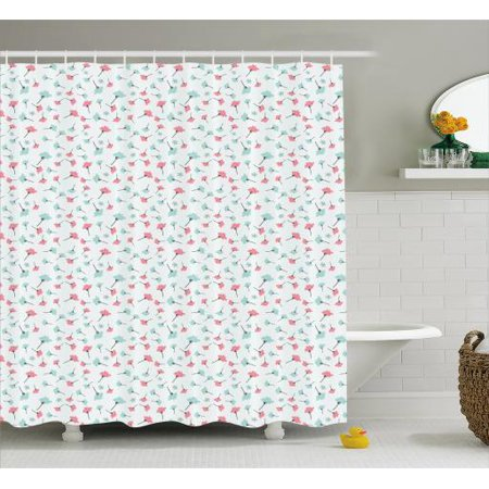 Blue And Pink Shower Curtain Doodle Style Blossoming Nature Growth Feminine Design Fabric Bathroom