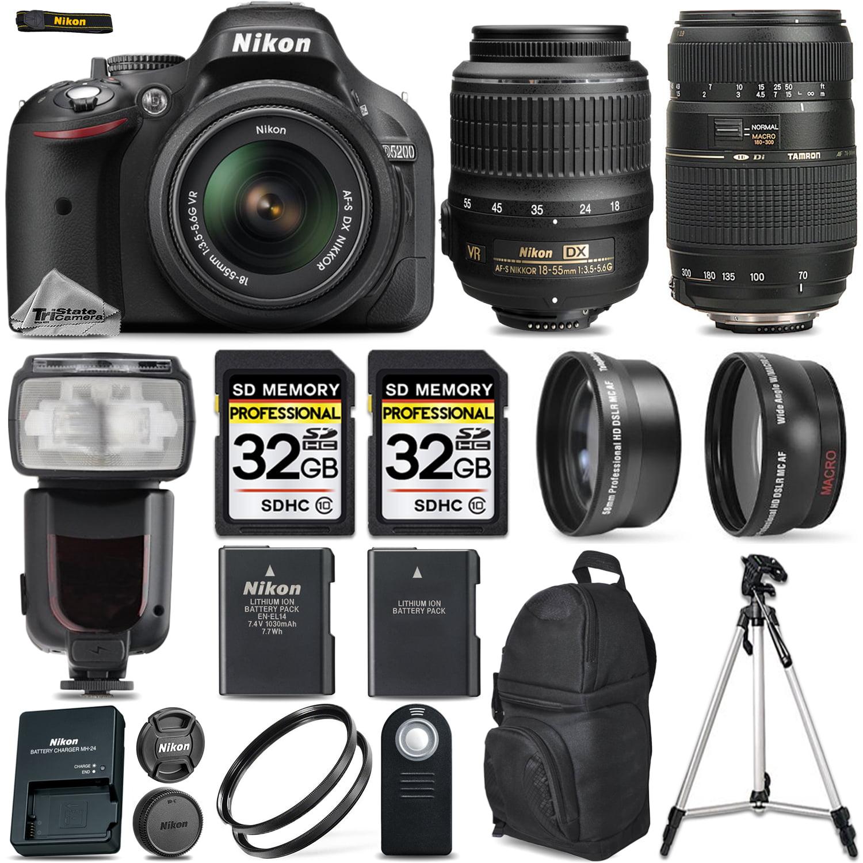 Nikon D5200 Digital SLR Camera + 4 Lens 18-55mm VR + Tamron 70-300 + 64GB + More by Nikon