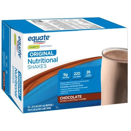 Equate Original Nutritional Drink, Chocolate, 24pk