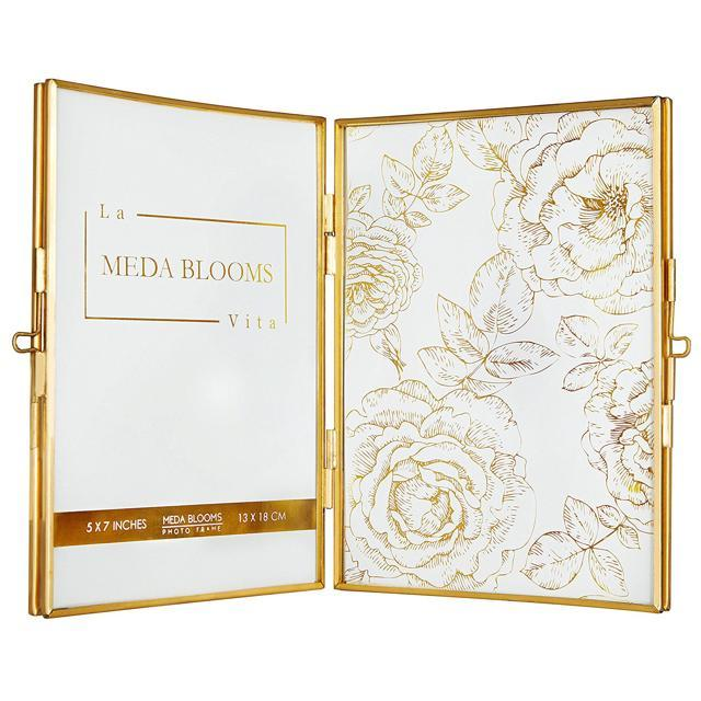 Putwo Picture Frames 5x7 Gold Hinged Double Folding Photo Frame