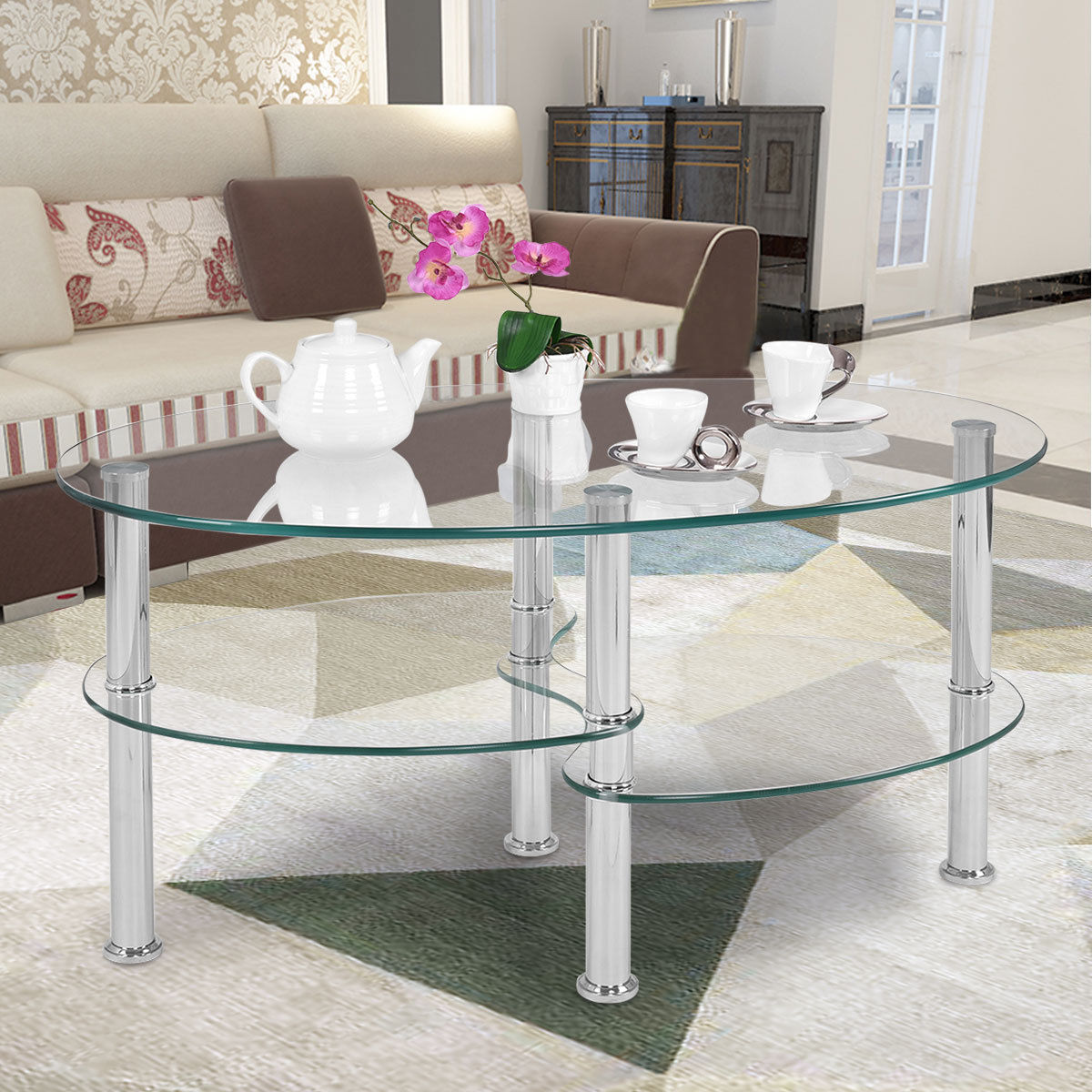 Costway Tempered Glass Oval Side Coffee Table Shelf Chrome Base Living Room Clear